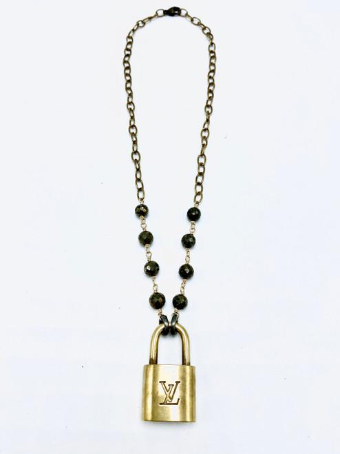 Vintage Louis Vitton Lock Pyrite and Brass Necklace