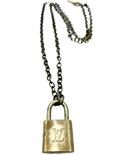 Long  Necklace on Brass Chain with Vintage LV Lock