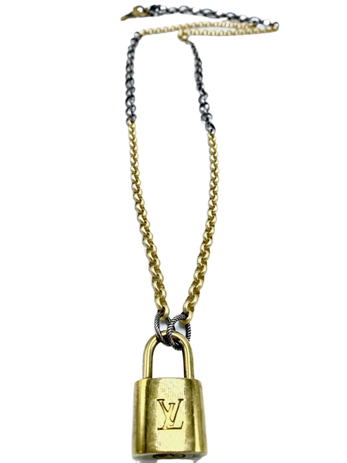 Long Silver and Gold Necklace with Vintage LV Lock