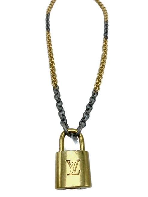 Silver and Gold Necklace with Vintage LV Lock