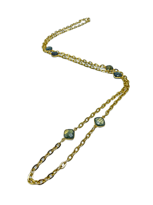 Labradorite and Gold Chain Long Necklace