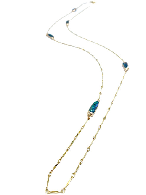 Blue Biwa Pearls and Gold Chain Long Necklace