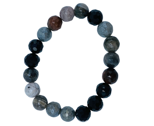 Petrified Wood, Onyx and Coated Labradorite Stretch Bracelets