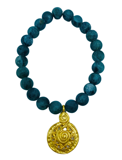 Matte Green Apatite and Gold Charm Stretch Bracelet