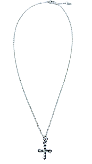 Short Silver Necklace with Silver Cross