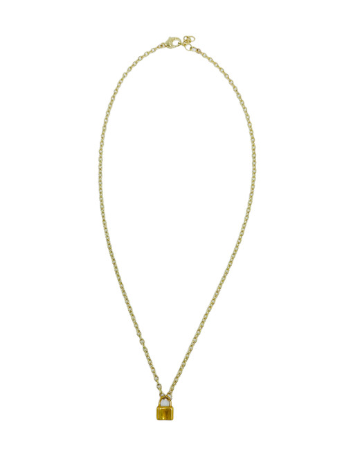 Short Gold and Crystal Necklace with Vermeil Lock