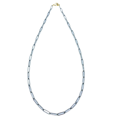 Short Matte Silver Paperclip Chain