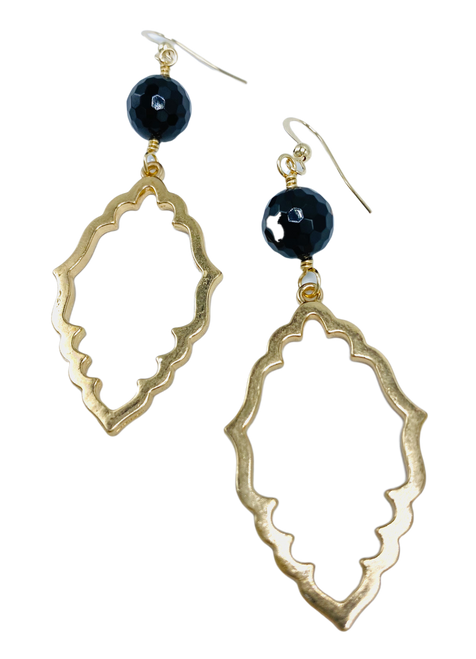 Scalloped Gold and Black Onyx Earring