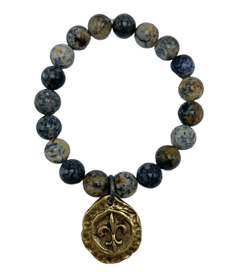 Dendrite Opal and Gold Fleur-de-lis Stretch Bracelet