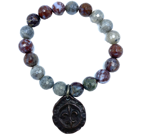 Labradorite and Red Lighting Agate  with Bronze Fleur-de-lis Charm Stretch Bracelet