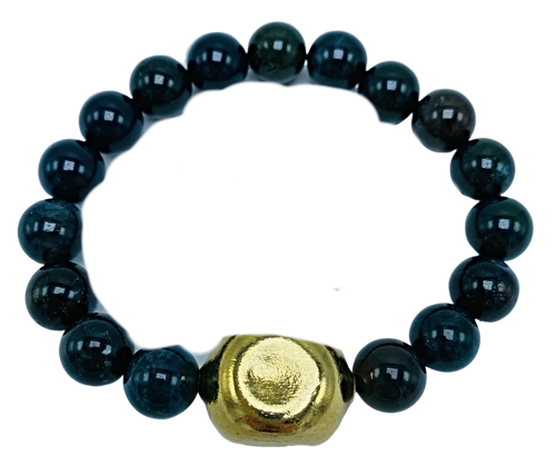Bloodstone and Chanel Bead Stretch Bracelet
