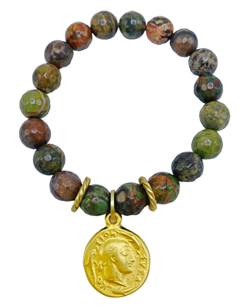 Fall Agate with Matte Coin Charm Stretch Bracelet