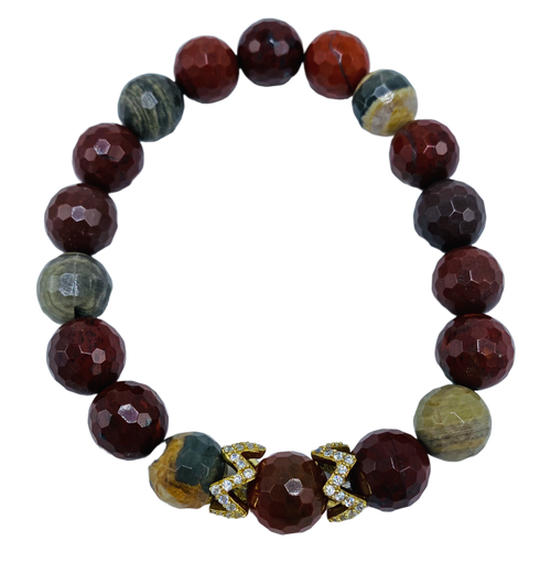 Apple Jasper with CZ Pieces Stretch Bracelet