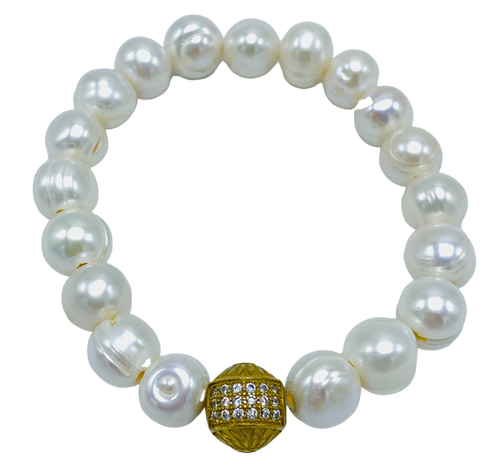 White Freshwater Pearl with Brass CZ Stretch Bracelet