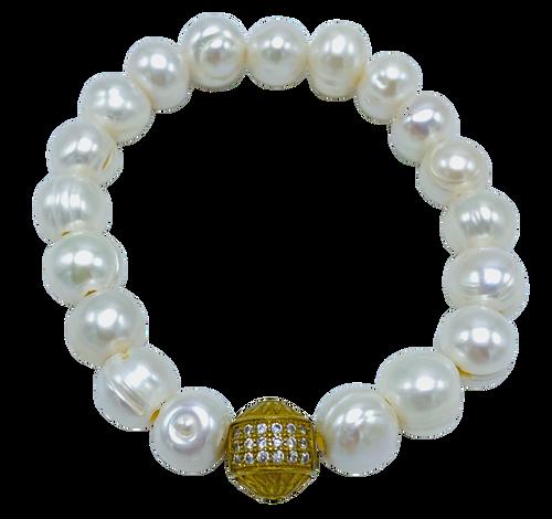 White Freshwater Pearl with Brass CZ Stretch Bracelet