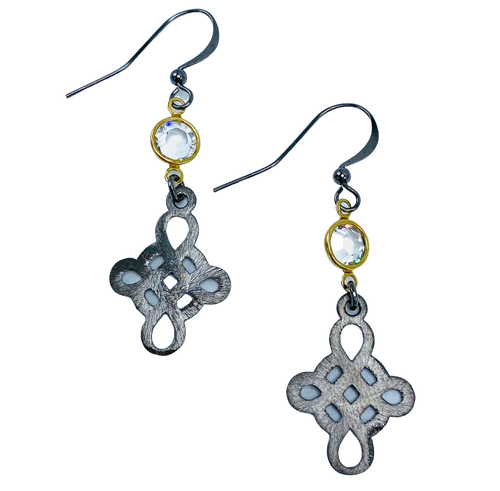 Gunmetal Swirl and Swarovski Crystal Earrings