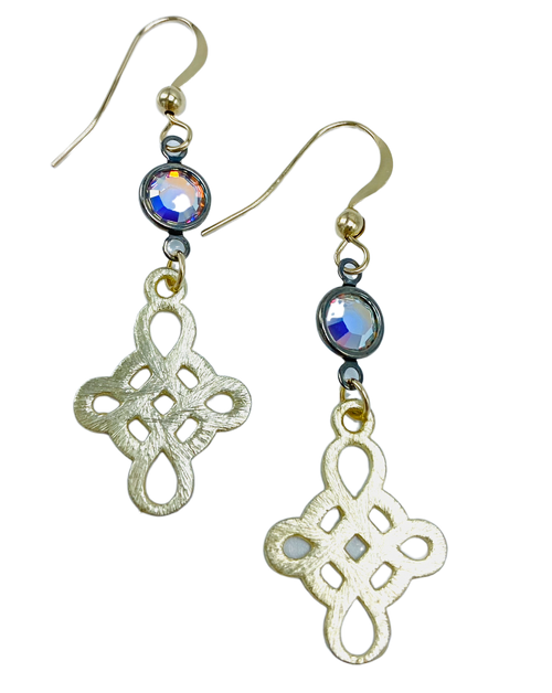 Gold Swirl and Swarovski Crystal Earrings