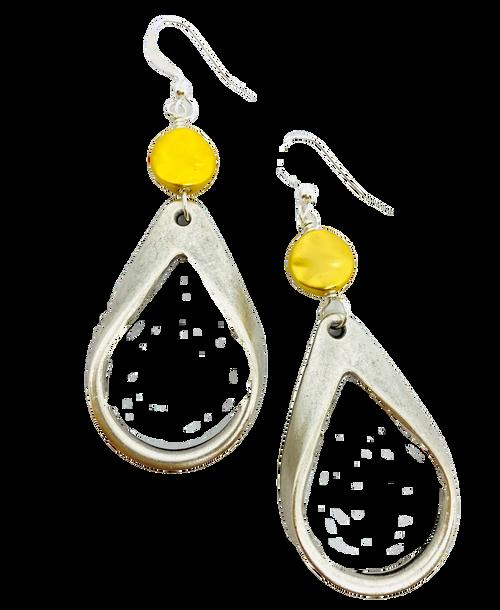 Matte Silver and Gold Teardrop Earrings