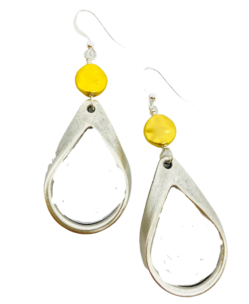 Matte Silver and Gold Teardrop Earrings