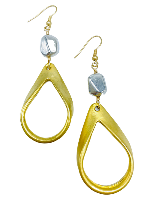 Matte Gold and Silver Teardrop Earrings