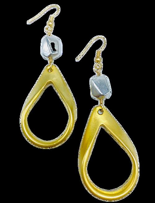 Matte Gold and Silver Teardrop Earrings
