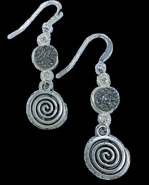 Silver Swirl and Grey Druzy Earrings