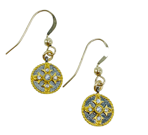 Gold and Grey Disc Earrings
