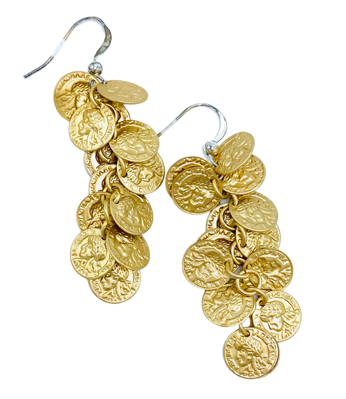 Gold or Silver Coin Dangle Earrings