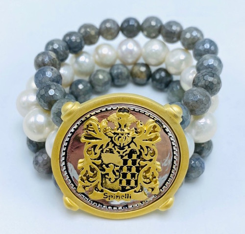 Three Strand Labradorite, Baroque Pearl and Shield Bracelet