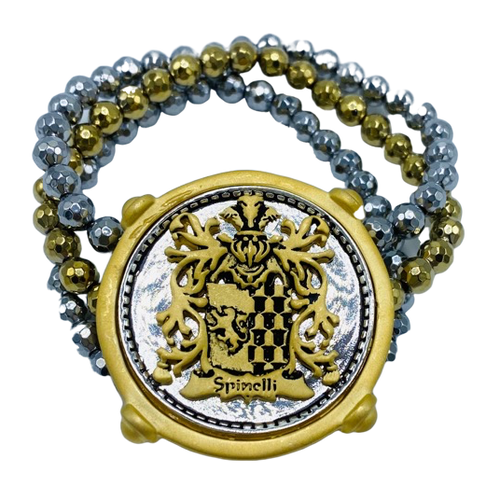 Three Strand Gold and Silver Hematite Bracelet with Crest