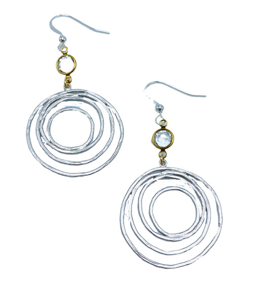 Gold or Silver Circles with Gold Encased Crystal Earrings