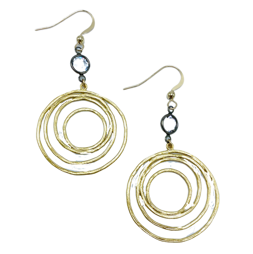 Gold Circle with Gunmetal Encased Crystal Earrings