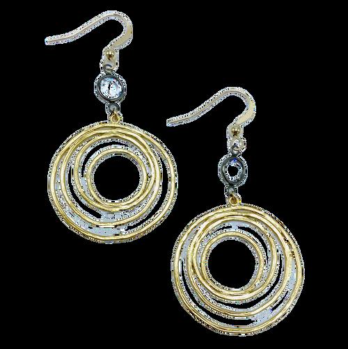 Gold Circle with Gunmetal Encased Crystal Earrings