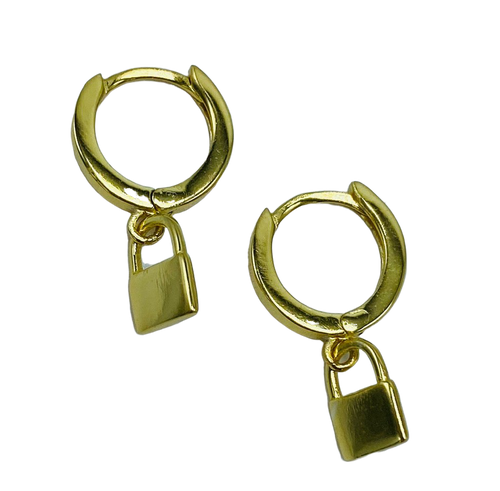 Vermeil  or Sterling Silver Huggie Earrings with Small Lock