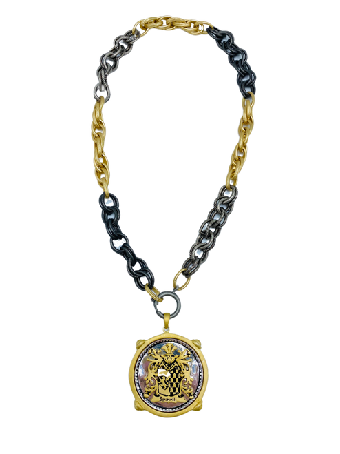 Short Mixed Chain with Spinelli Crest Pendant
