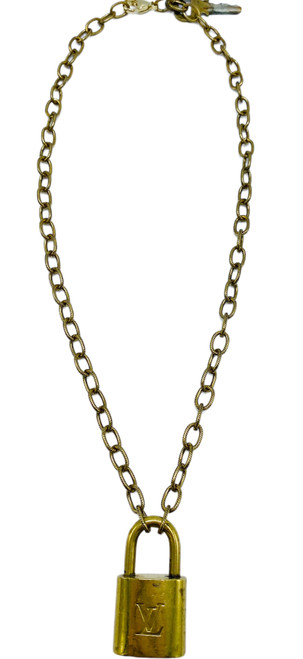 Short Brass Chain Necklace with Vintage LV Lock