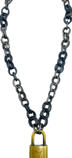 Short Silver and Oxidized Silver Necklace with LV Lock