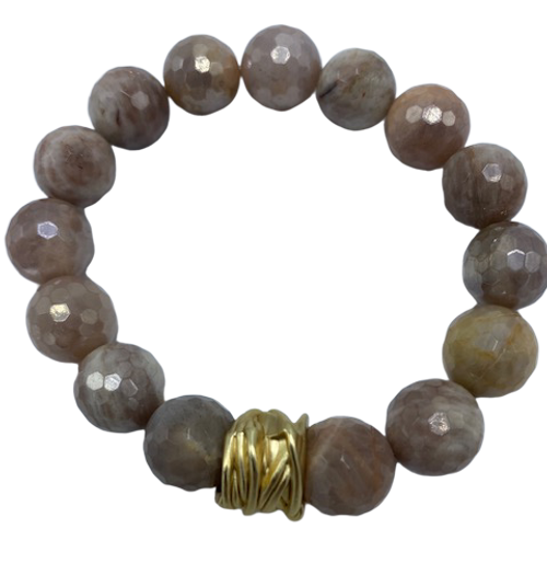 Moonstone and Gold Stretch Bracelet