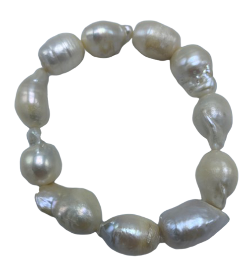 White Baroque Pearls on Stretch Bracelet