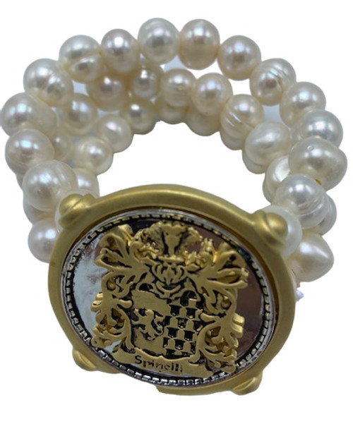Three Strand White Pearl Bracelet with Spinelli Crest Bracelet