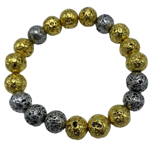 Gold and Silver Lava Bracelet