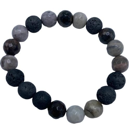 Petrified Wood and Black Lava Stretch Bracelet
