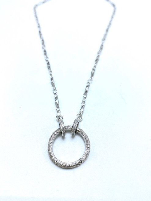 Short Sterling Chain with Sterling CZ Charm Clasp