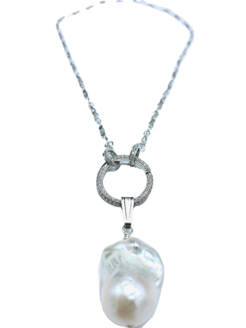 Short Sterling Necklace with CZ Charm Clasp with White Baroque Pearl