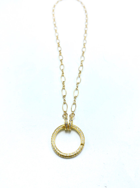 Short Gold Filled Chain with Vermeil Charm Clasp