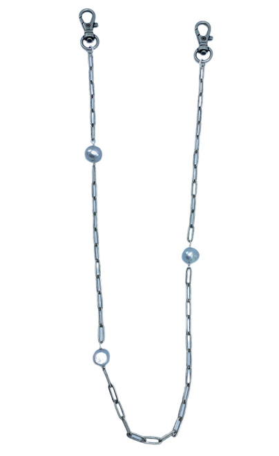 Silver Paperclip Chain Masklace with Pearls
