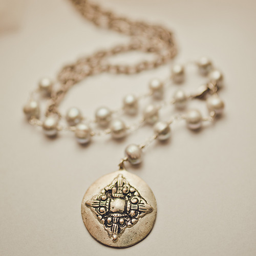 Grey Pearl and Medallion Convertible Necklace