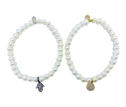 White Freshwater Pearl and CZ Charm Stretch Bracelet