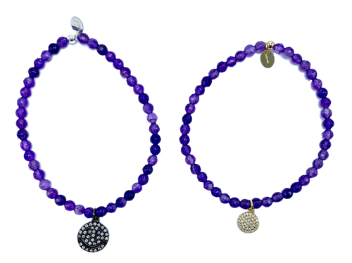 Amethyst and CZ Charm Stretch Bracelet