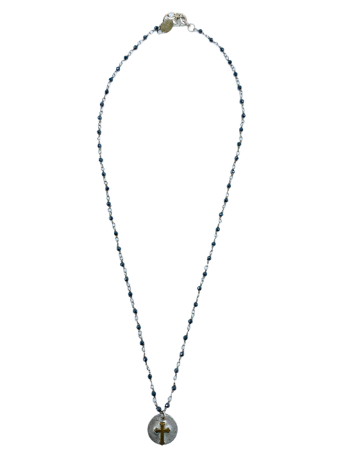 Sliver and Black Spinel Necklace with Cross Charm
